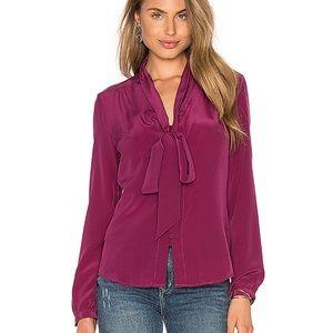 Jumy Kim 💯% silk burgundy button down shirt